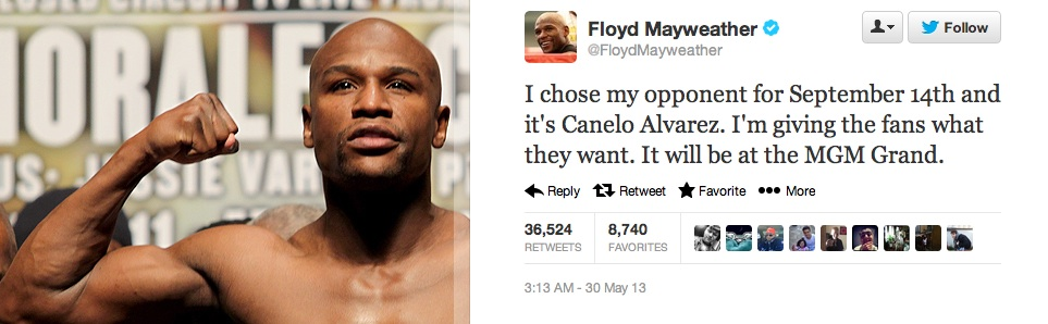 Mayweather announces Alvarez