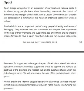 Labour on sport